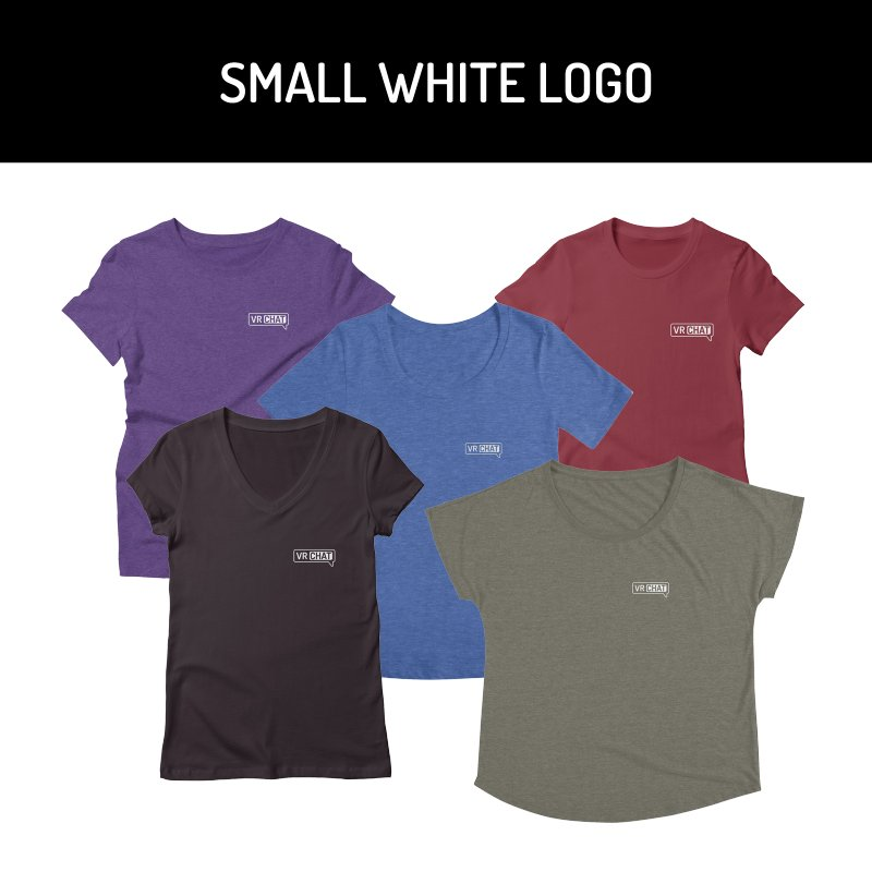 Women Short Sleeve Shirts - Small White Logo by VRChat Merchandise