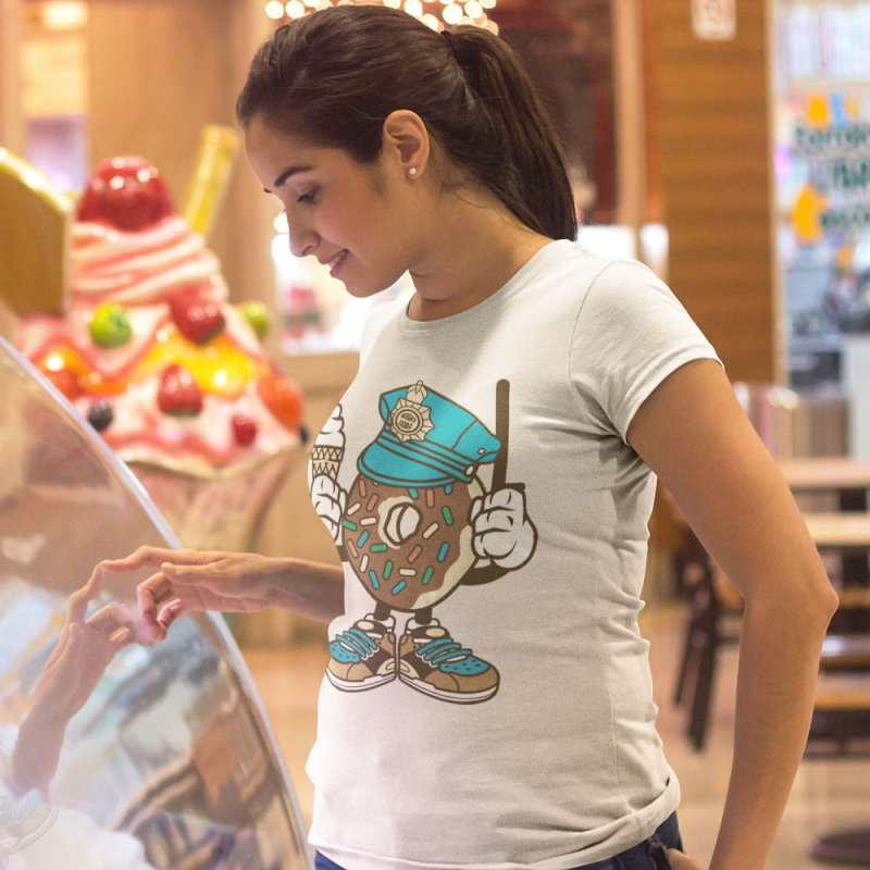 Donut Cop in Men's Extra Soft T-Shirt Stone by WackyToonz