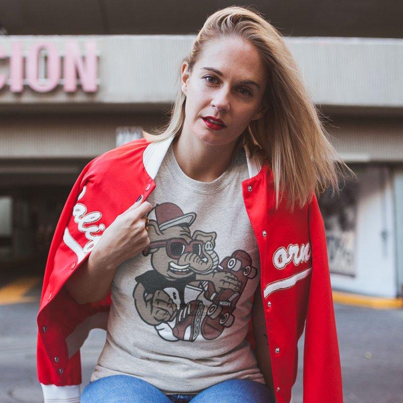 Skateboarding Elephant in Men's Extra Soft T-Shirt Stone by WackyToonz