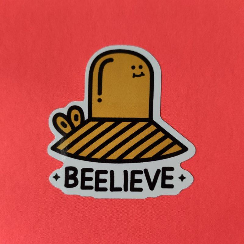 Beelieve in White Sticker by WeirdPeople's ArtistShop