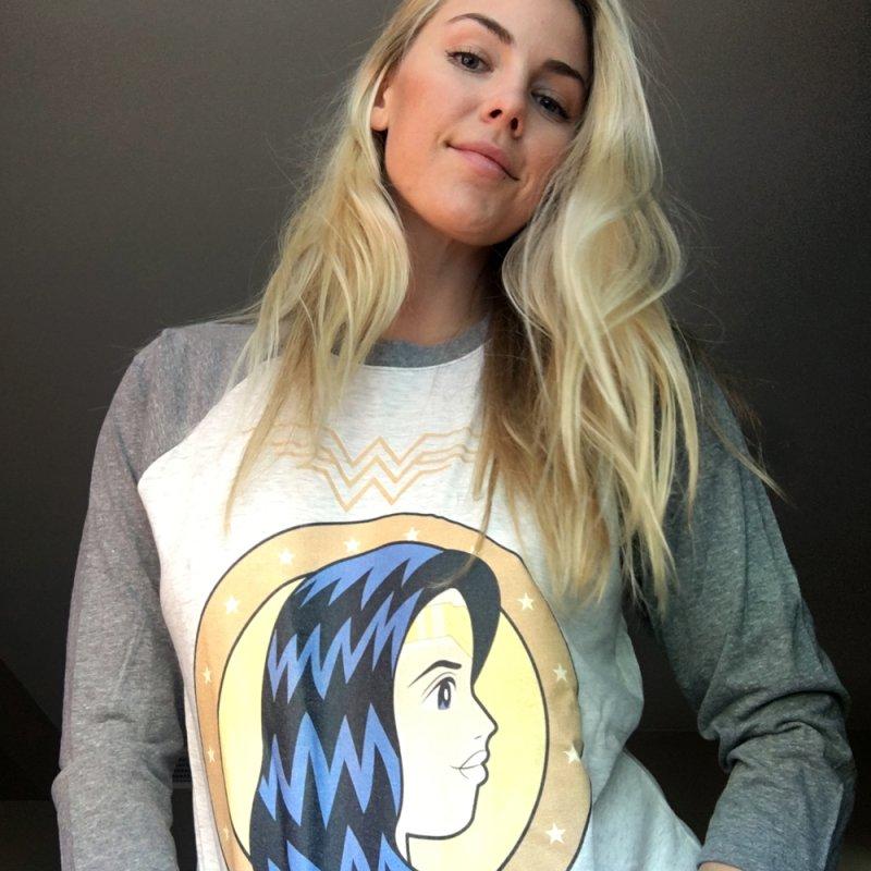 Wonder Woman in Women's Baseball Triblend T-Shirt Tri-Grey Sleeves by WingedBomB's Artist Shop