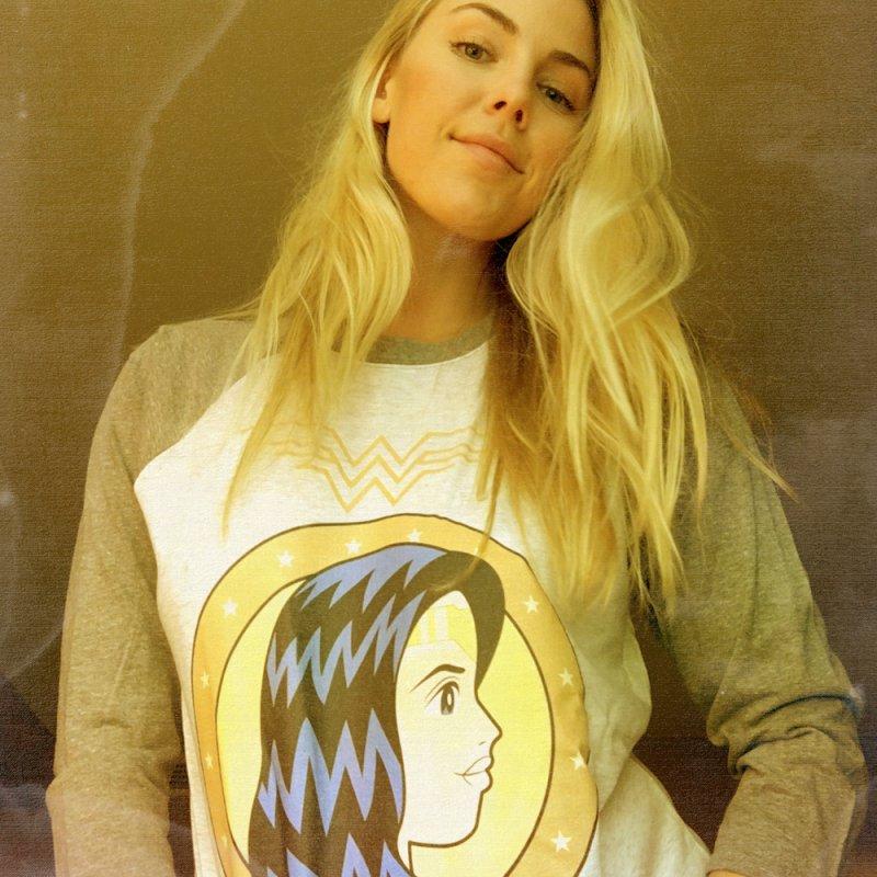 Wonder Woman in Women's Baseball Triblend Longsleeve T-Shirt Tri-Grey Sleeves by WingedBomB's Artist Shop