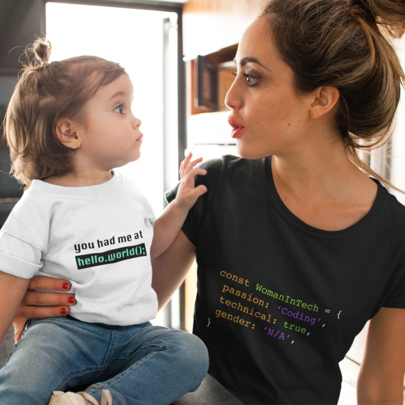 You had me at hello.world(); in Kids Baby T-Shirt White by Women in Technology Online Store