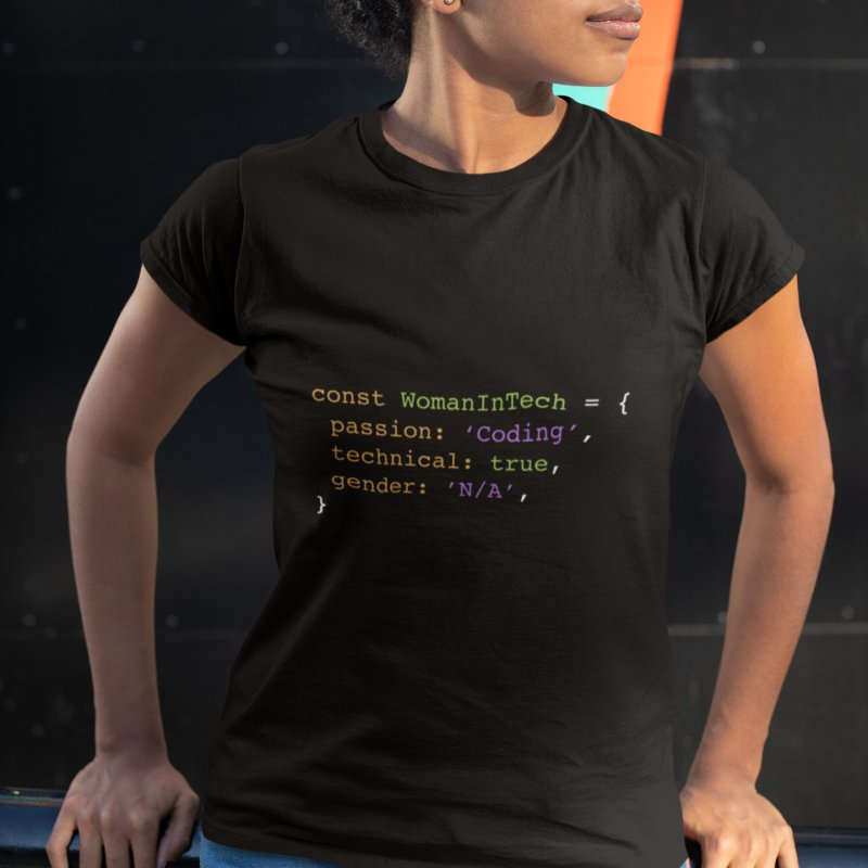Woman in Tech definition in Women's Fitted T-Shirt Black by Women in Technology Online Store