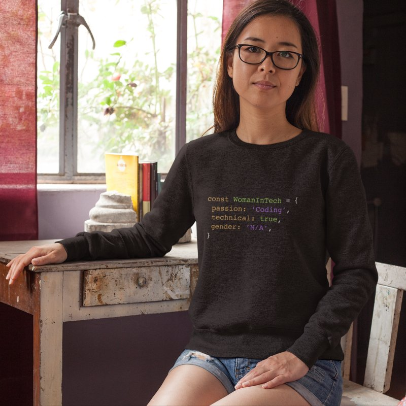 Woman in Tech definition in Women's French Terry Sweatshirt Smoke by Women in Technology Online Store