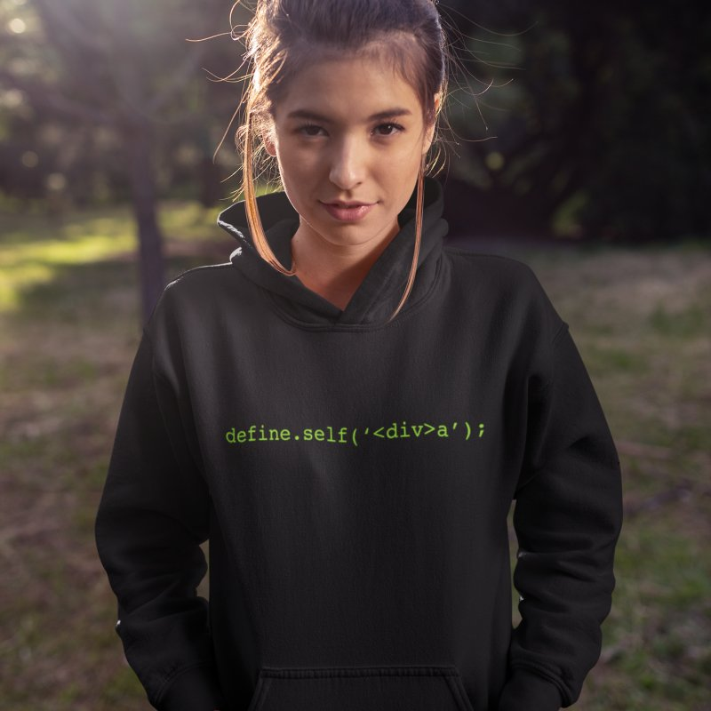 define.self('<div>a'); - A geeky diva in Women's French Terry Pullover Hoody Black by Women in Technology Online Store
