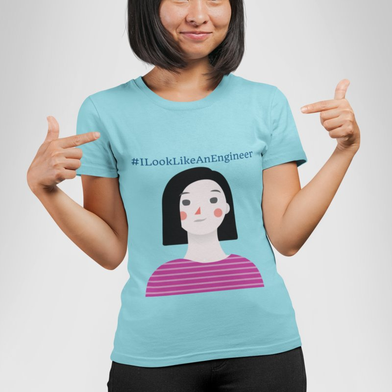 #ILookLikeAnEngineer with a female avatar in Women's Fitted T-Shirt Cancun by Women in Technology Online Store