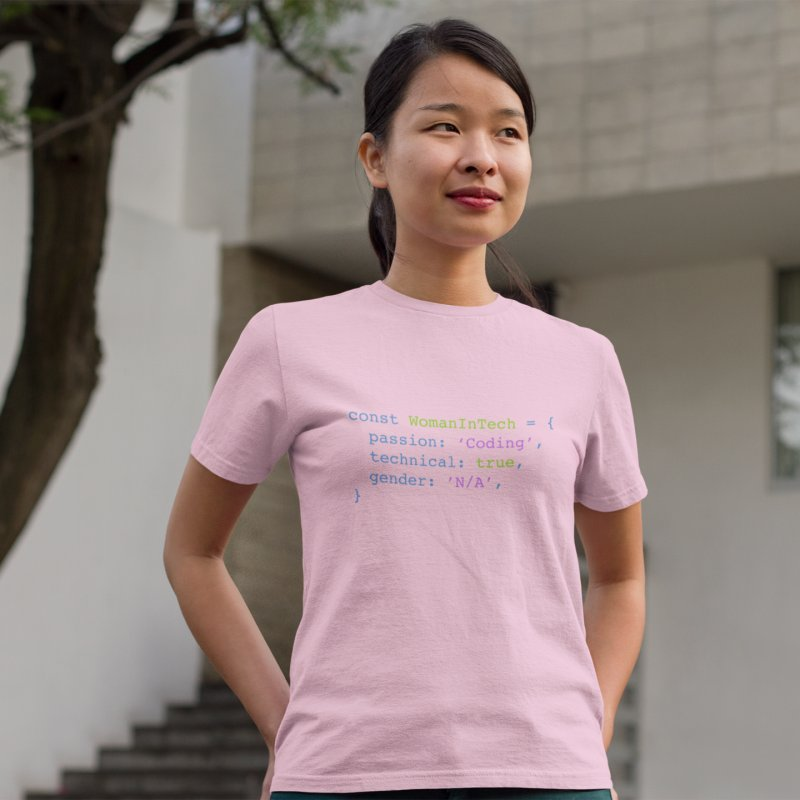Woman in Tech definition in Women's Fitted T-Shirt Light Pink by Women in Technology Online Store
