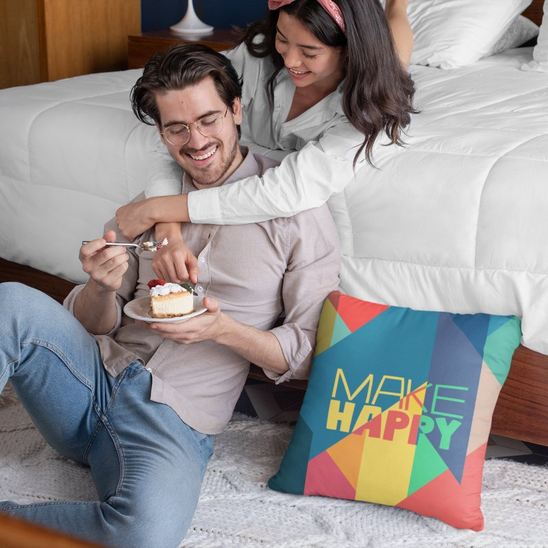 Make Happy in Throw Pillow by A Wonderful Shop of Wonderful Wonders