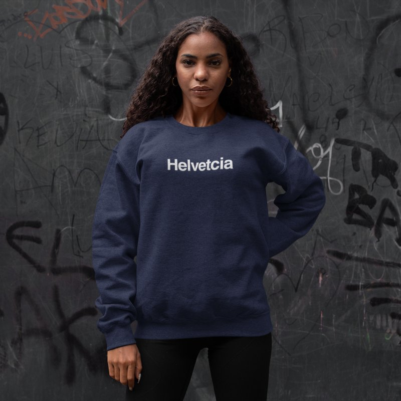 Helvetcia in Women's French Terry Sweatshirt Navy by A Wonderful Shop of Wonderful Wonders