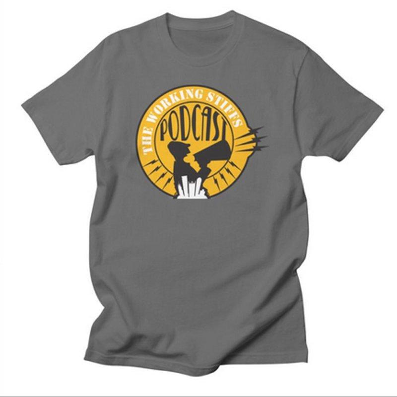 The Working Stiffs Podcast Logo in Men's Regular T-Shirt Asphalt by The Working Stiffs Shop