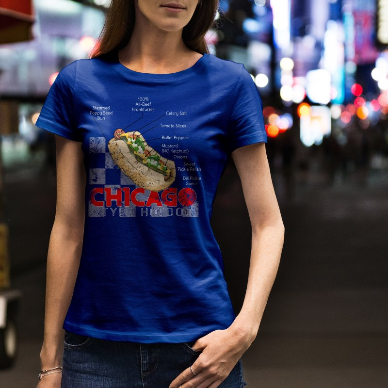 Chicago Style Hotdog in Women's Extra Soft T-Shirt Asphalt by Michelle Wynn's Artist Shop