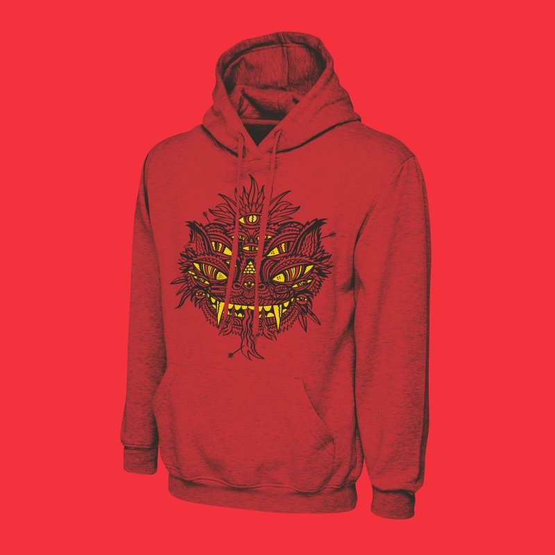 ARROWED in Men's French Terry Pullover Hoody Heather Red by Young & Sick