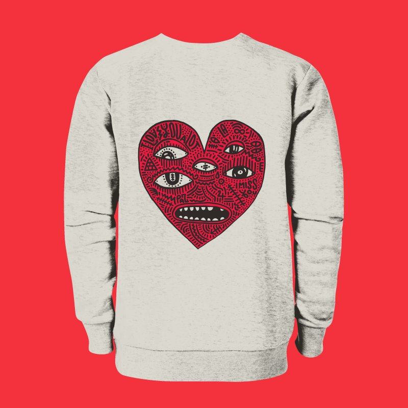 I LOVE YOU A LOT in Men's French Terry Sweatshirt Heather Oatmeal by Young & Sick