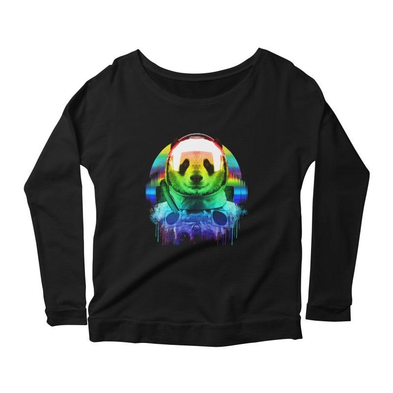 SPACE PANDA Women's Scoop Neck Longsleeve T-Shirt by AGIMATNIINGKONG's Artist Shop