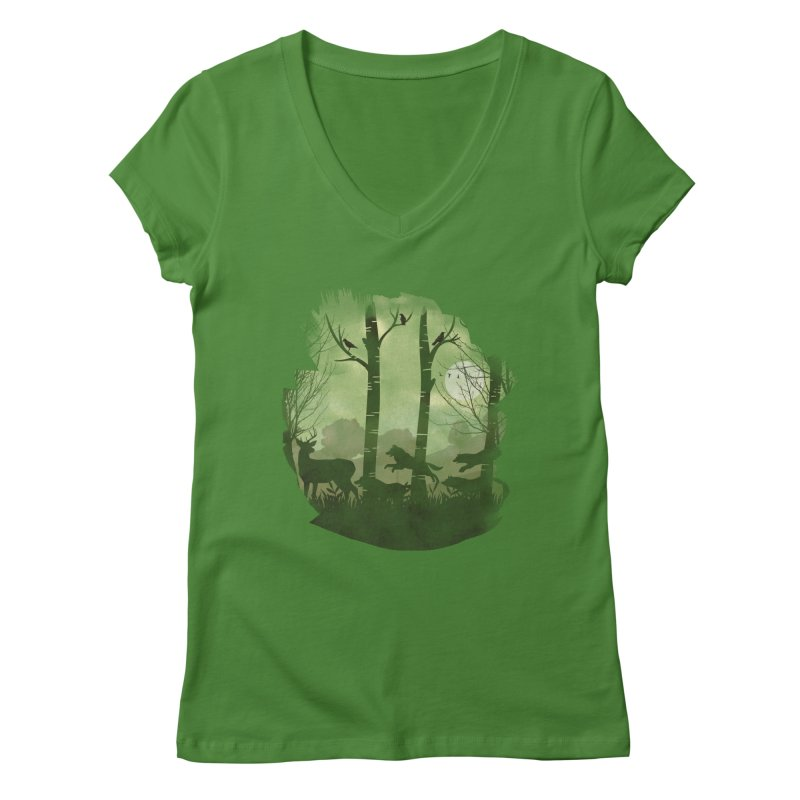 Night Chase Women's V-Neck by AGIMATNIINGKONG's Artist Shop