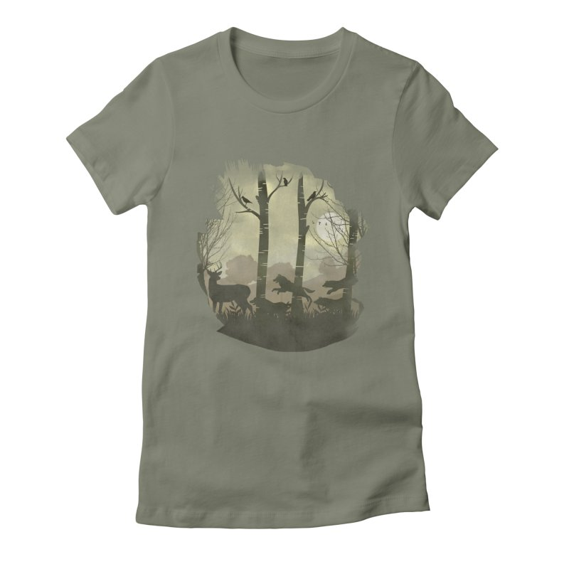 Night Chase Women's Fitted T-Shirt by AGIMATNIINGKONG's Artist Shop