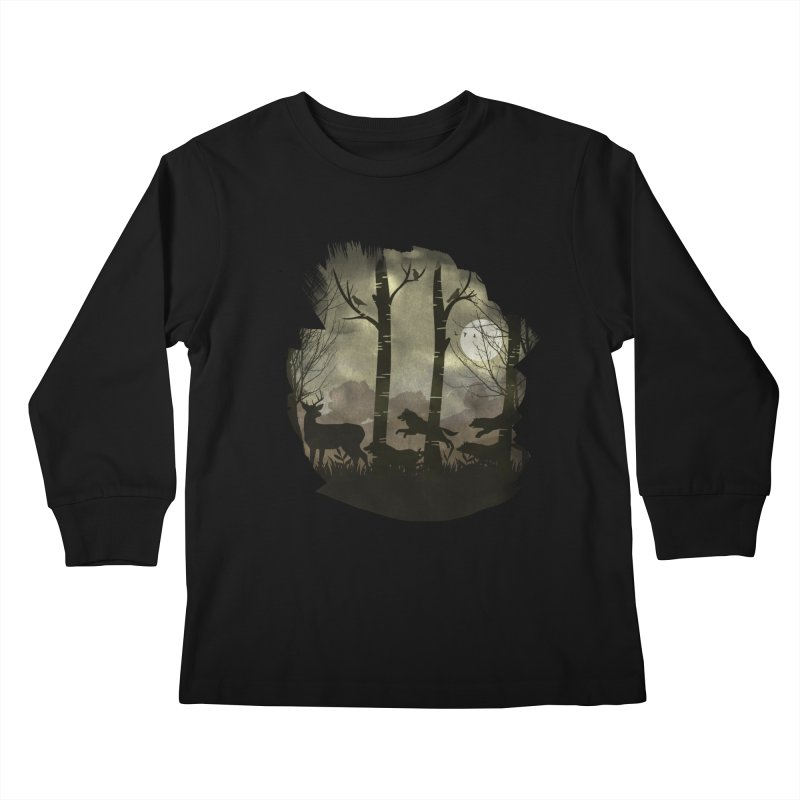 Night Chase Kids Longsleeve T-Shirt by AGIMATNIINGKONG's Artist Shop