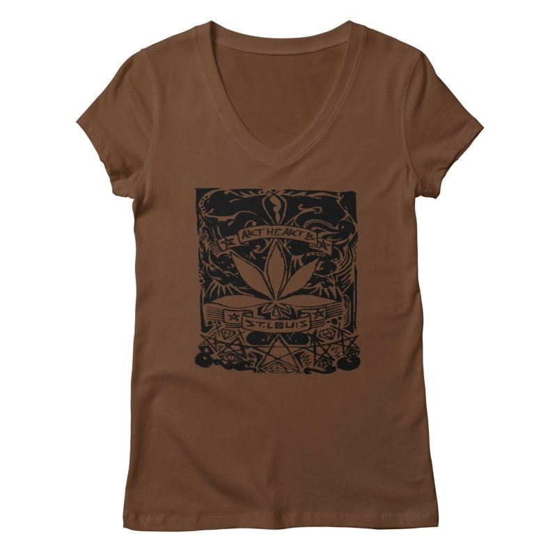Weed And Diamonds Women's V-Neck by ArtHeartB