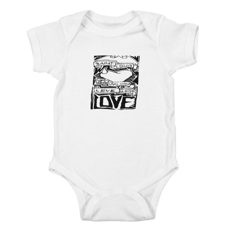 Love Hurts Kids Baby Bodysuit by ArtHeartB