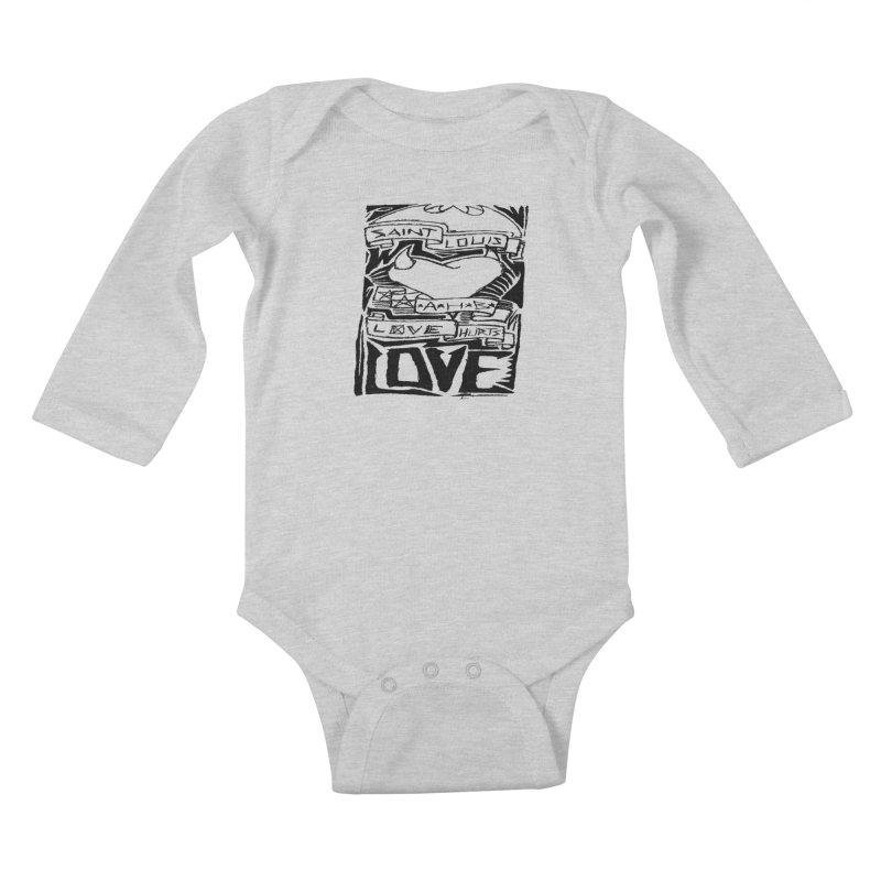 Love Hurts Kids Baby Longsleeve Bodysuit by ArtHeartB