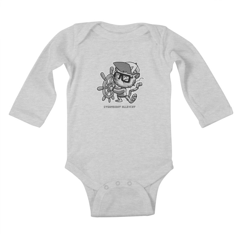 Steamboat Alley Cat Kids Baby Longsleeve Bodysuit by Alero Artist Shop