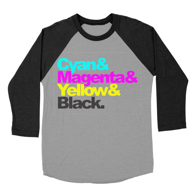 Cyan and Magenta and Yellow and Black Women's Baseball Triblend T-Shirt by ALMA VISUAL's Artist Shop