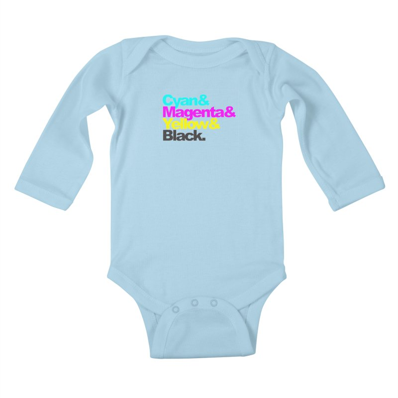 Cyan and Magenta and Yellow and Black Kids Baby Longsleeve Bodysuit by ALMA VISUAL's Artist Shop