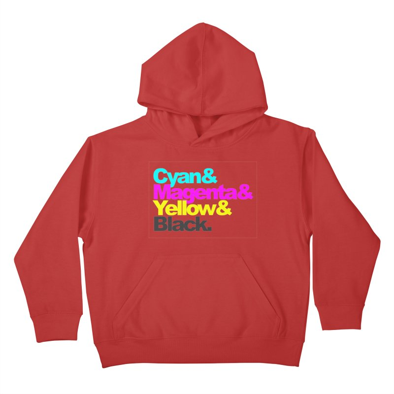 Cyan and Magenta and Yellow and Black Kids Pullover Hoody by ALMA VISUAL's Artist Shop