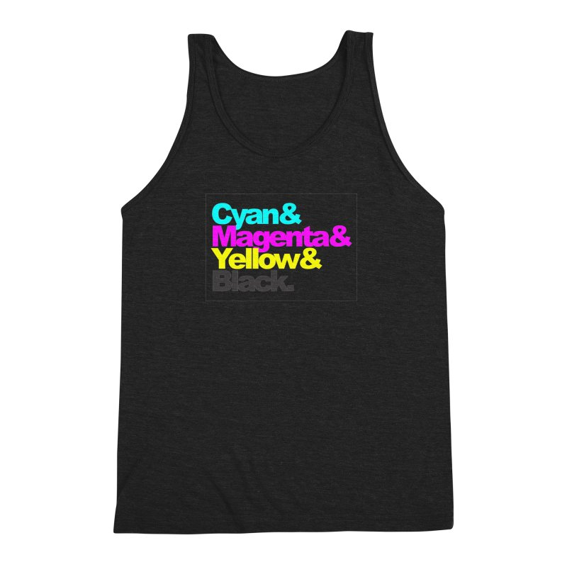 Cyan and Magenta and Yellow and Black Men's Triblend Tank by ALMA VISUAL's Artist Shop