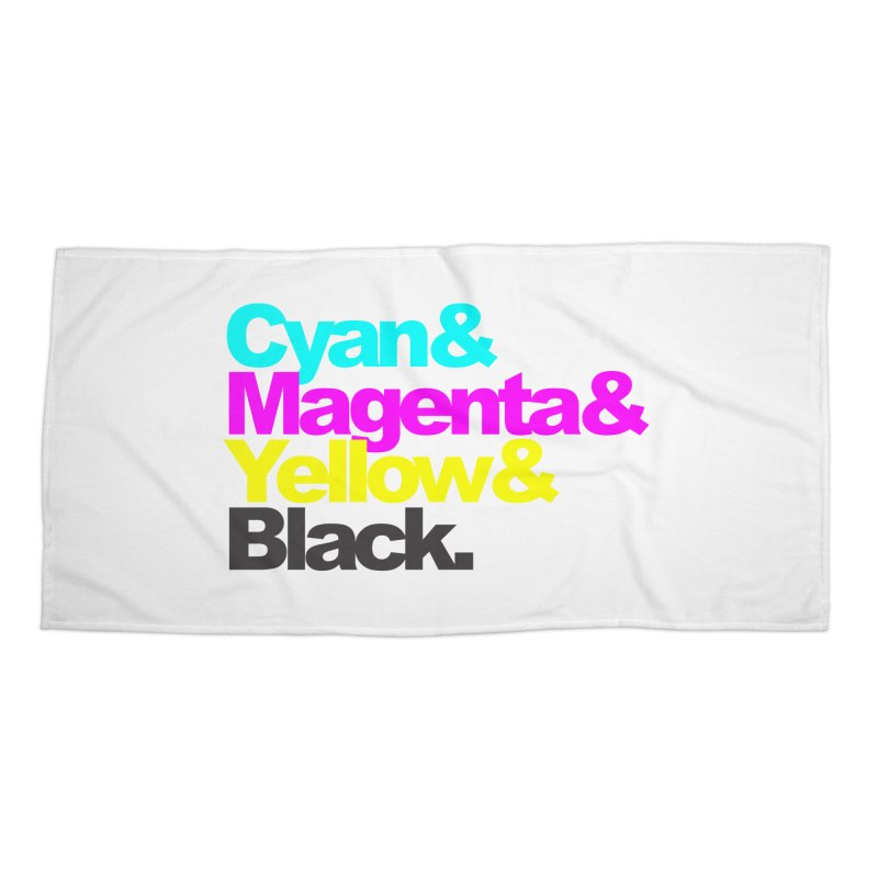 Cyan and Magenta and Yellow and Black Accessories Beach Towel by ALMA VISUAL's Artist Shop