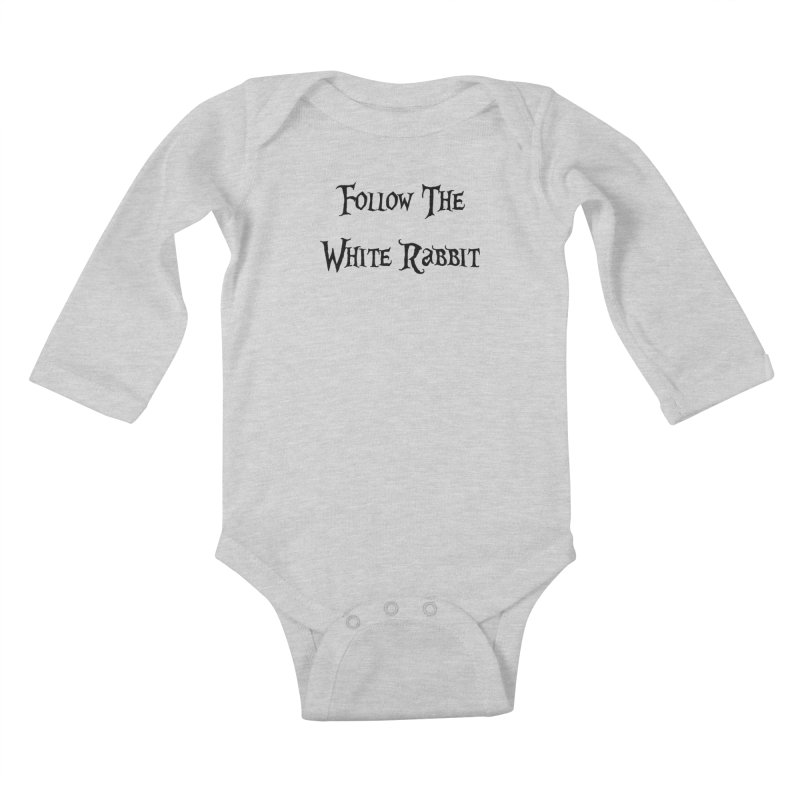 Follow The White Rabbit Kids Baby Longsleeve Bodysuit by ALMA VISUAL's Artist Shop