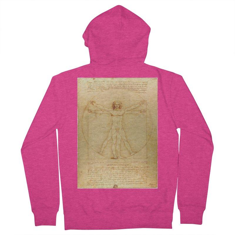 Leonardo Da Vinci Vitruvian Man draw Women's Zip-Up Hoody by ALMA VISUAL's Artist Shop