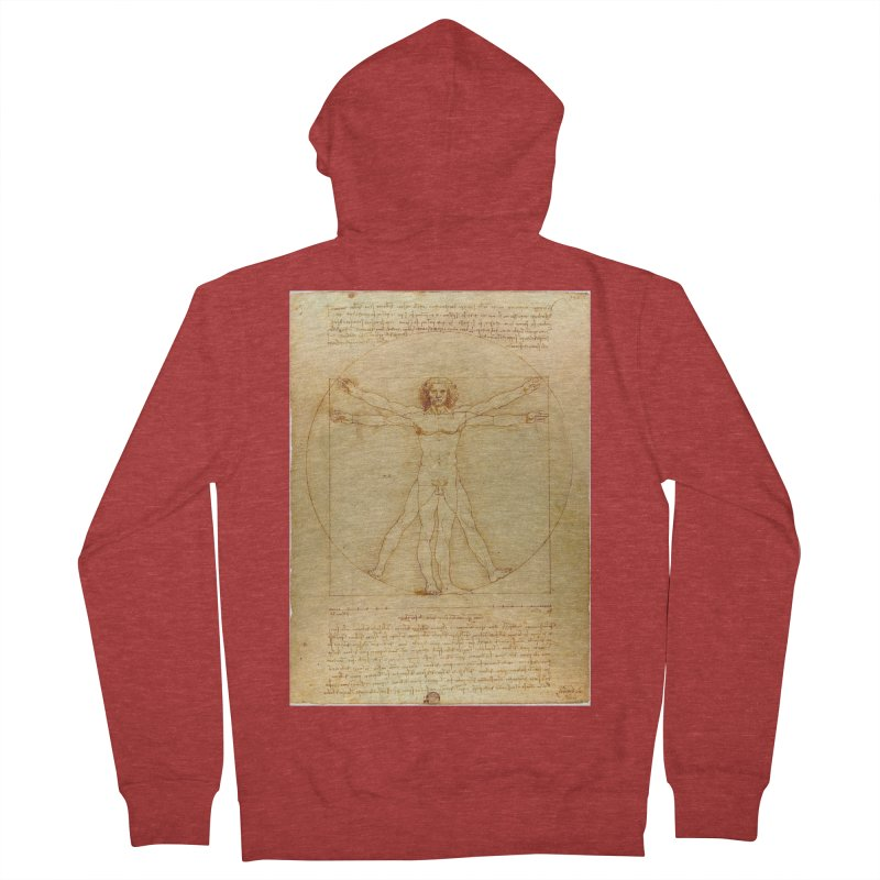 Leonardo Da Vinci Vitruvian Man draw Men's Zip-Up Hoody by ALMA VISUAL's Artist Shop