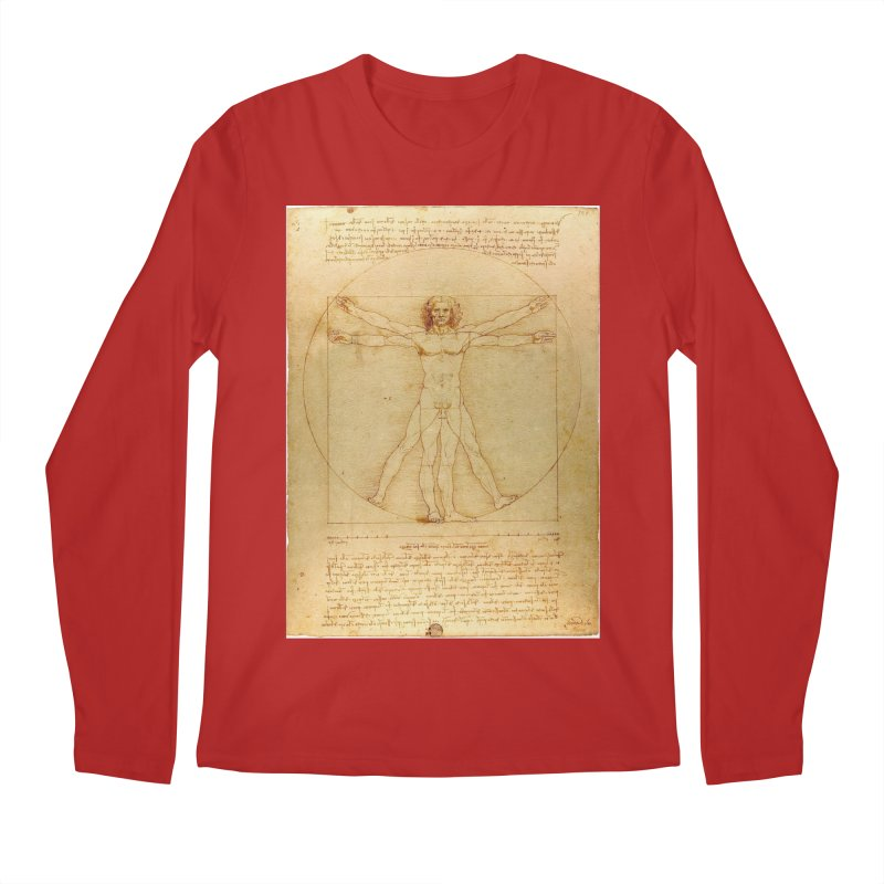 Leonardo Da Vinci Vitruvian Man draw Men's Longsleeve T-Shirt by ALMA VISUAL's Artist Shop