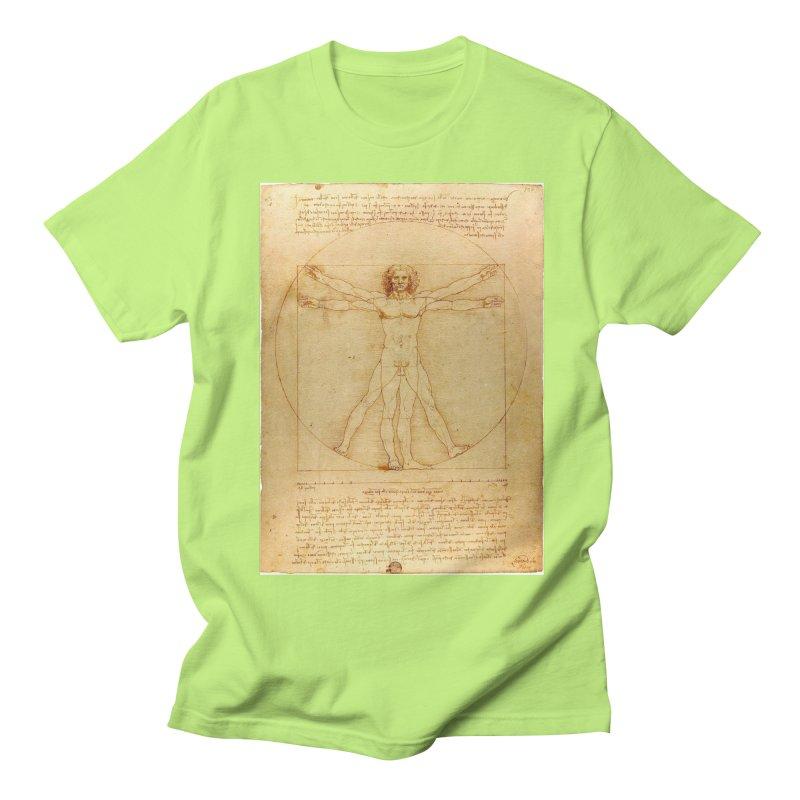 Leonardo Da Vinci Vitruvian Man draw Women's Unisex T-Shirt by ALMA VISUAL's Artist Shop
