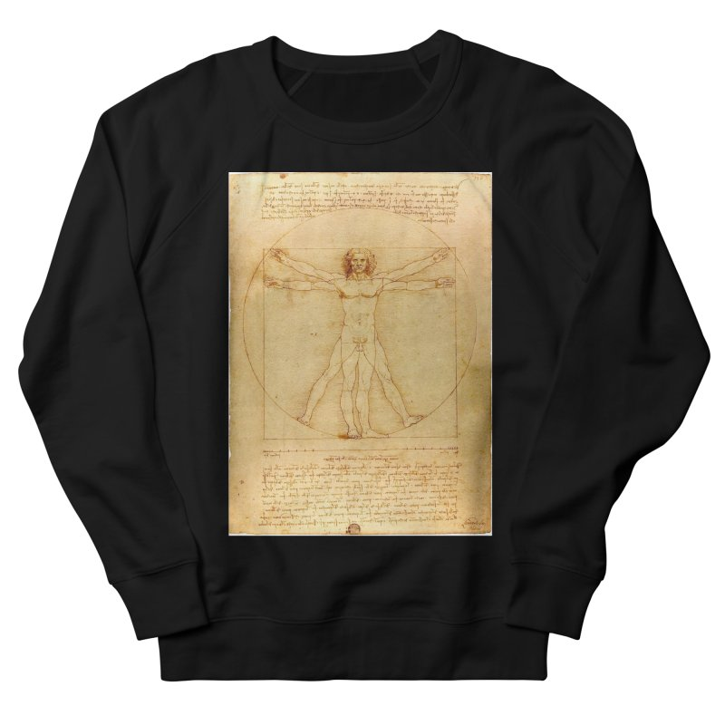 Leonardo Da Vinci Vitruvian Man draw Men's Sweatshirt by ALMA VISUAL's Artist Shop