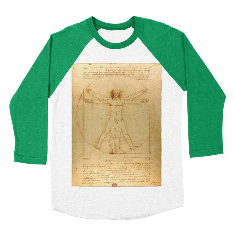Leonardo Da Vinci Vitruvian Man draw Women's Baseball Triblend T-Shirt by ALMA VISUAL's Artist Shop