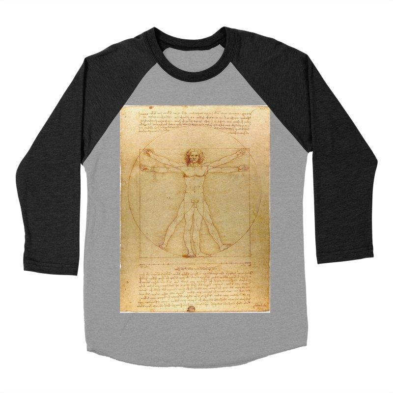 Leonardo Da Vinci Vitruvian Man draw Men's Baseball Triblend T-Shirt by ALMA VISUAL's Artist Shop