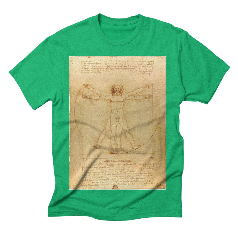 Leonardo Da Vinci Vitruvian Man draw Men's Triblend T-shirt by ALMA VISUAL's Artist Shop