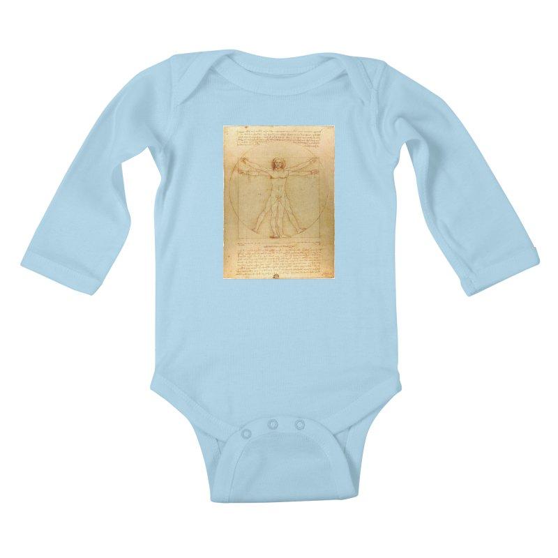 Leonardo Da Vinci Vitruvian Man draw Kids Baby Longsleeve Bodysuit by ALMA VISUAL's Artist Shop