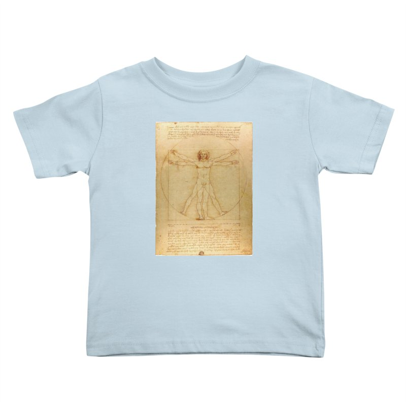 Leonardo Da Vinci Vitruvian Man draw Kids Toddler T-Shirt by ALMA VISUAL's Artist Shop