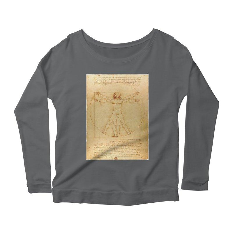 Leonardo Da Vinci Vitruvian Man draw Women's Longsleeve Scoopneck  by ALMA VISUAL's Artist Shop