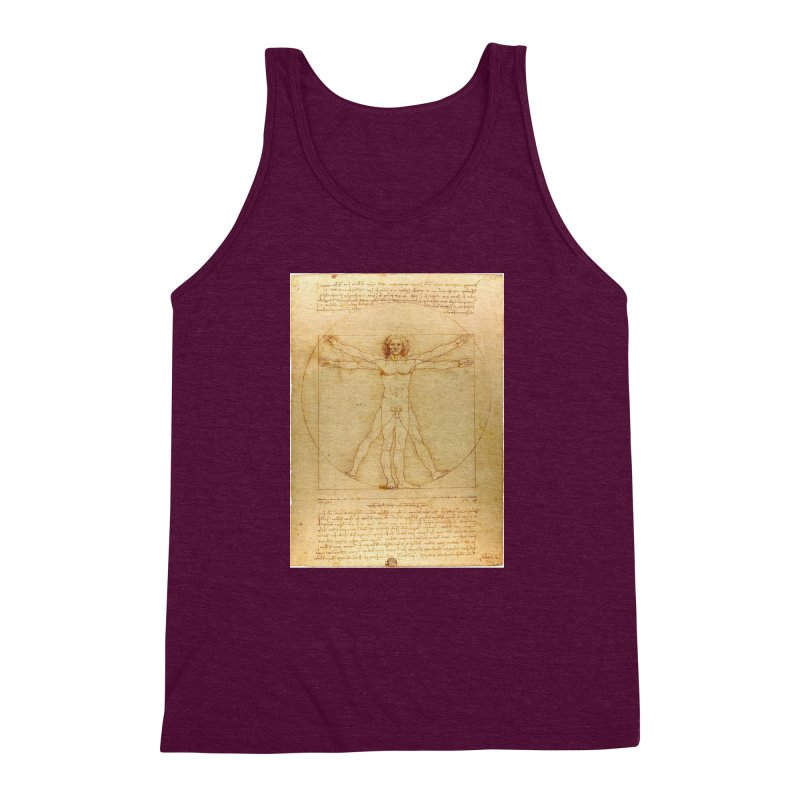 Leonardo Da Vinci Vitruvian Man draw Men's Triblend Tank by ALMA VISUAL's Artist Shop