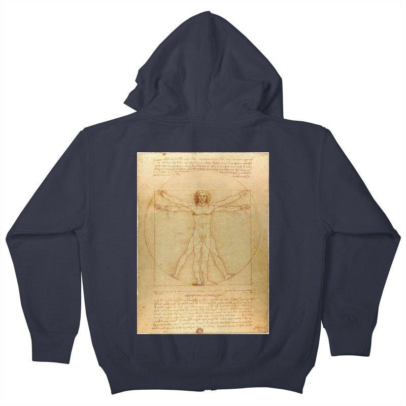 Leonardo Da Vinci Vitruvian Man draw Kids Zip-Up Hoody by ALMA VISUAL's Artist Shop
