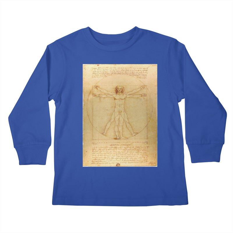 Leonardo Da Vinci Vitruvian Man draw Kids Longsleeve T-Shirt by ALMA VISUAL's Artist Shop