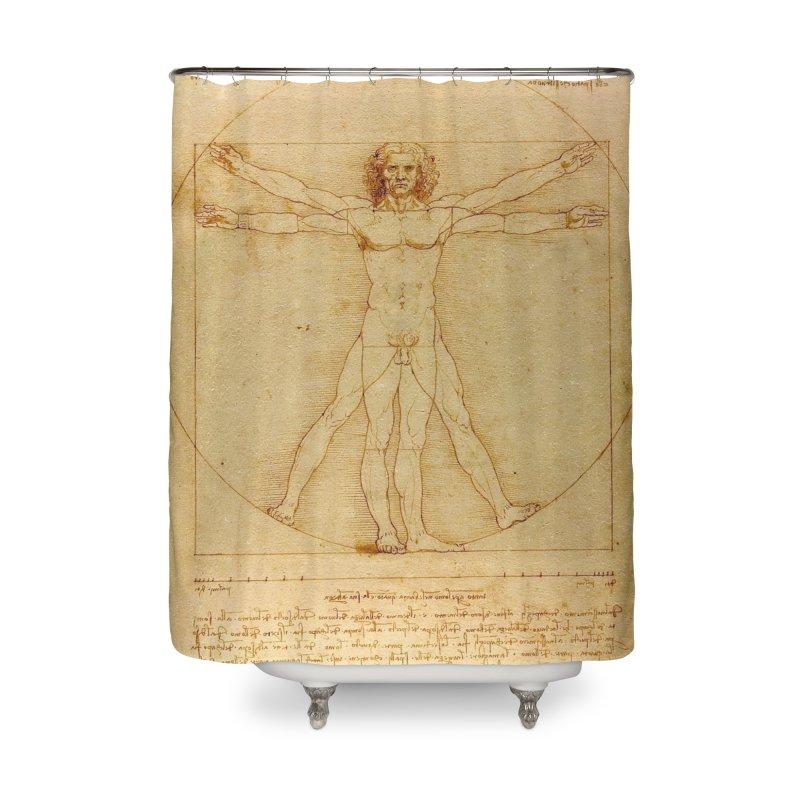 Leonardo Da Vinci Vitruvian Man draw Home Shower Curtain by ALMA VISUAL's Artist Shop