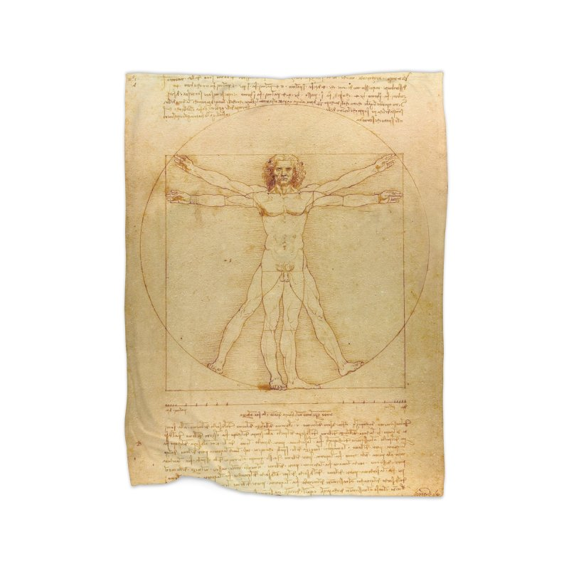 Leonardo Da Vinci Vitruvian Man draw Home Blanket by ALMA VISUAL's Artist Shop