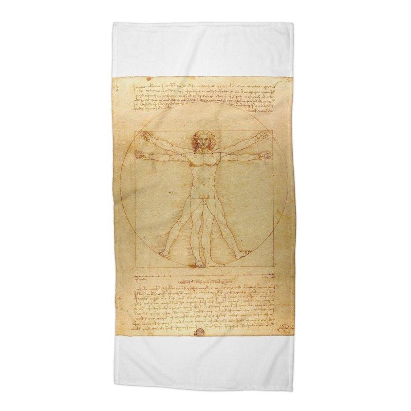 Leonardo Da Vinci Vitruvian Man draw Accessories Beach Towel by ALMA VISUAL's Artist Shop