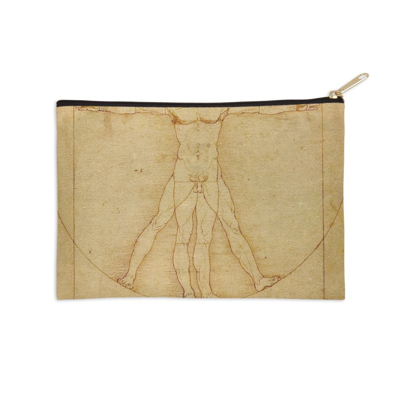 Leonardo Da Vinci Vitruvian Man draw Accessories Zip Pouch by ALMA VISUAL's Artist Shop